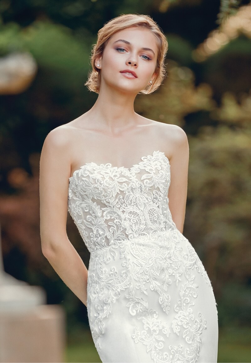 Model wearing white Sincerity Bridal dress